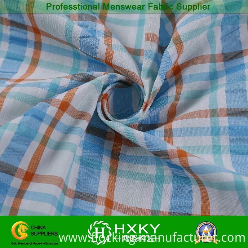 Yarn Dyed Polyester Nylon Fabric with Plaid Pattern for Men's Shirt