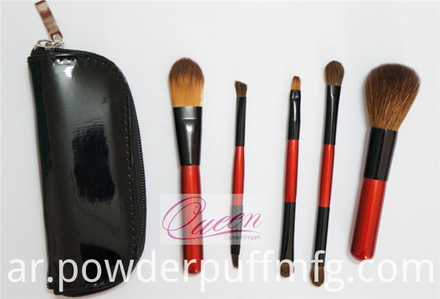 5PCS Portable Natural Mini Makeup Brush Set