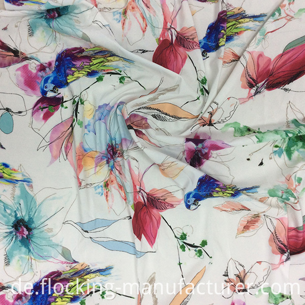 Lovely Bird and Flower Printed Fabric for Garment