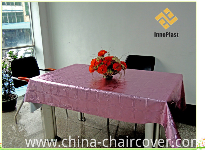 PVC Metallic Embossed Grain Tablecloth with Yarn Fabric Backing