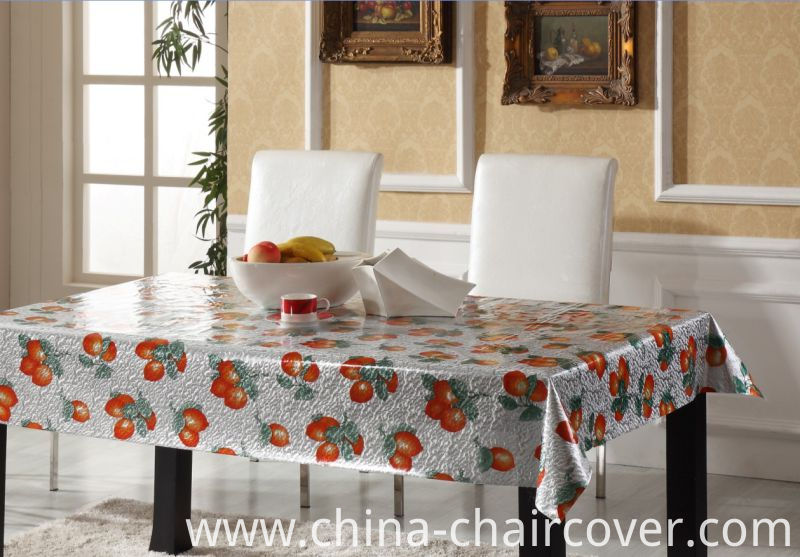 Papular Design Gold Embossed PVC Printed Tablecloth