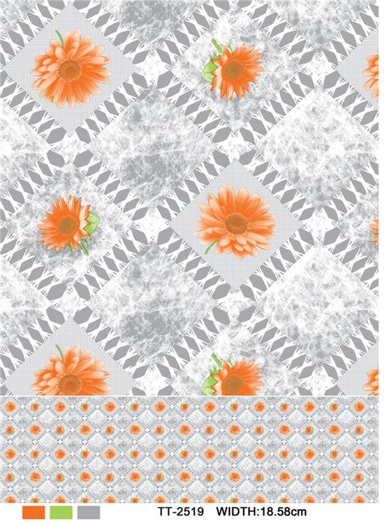PVC Material Printed Design Transparent Tablecloth (TJ0054) Factory Wholesale