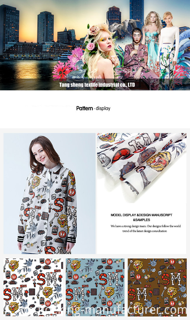 Polyester Fashion Printed Garment Fabric Home Textile Fabric