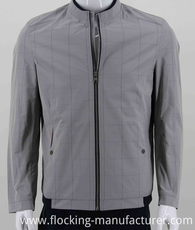 Check Pattern Memory Fabric for Woven Mens Bomber Jacket