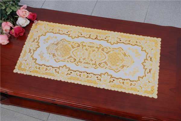 PVC Vinyl Lace Gold Placemat /Placemat with Gold Lace