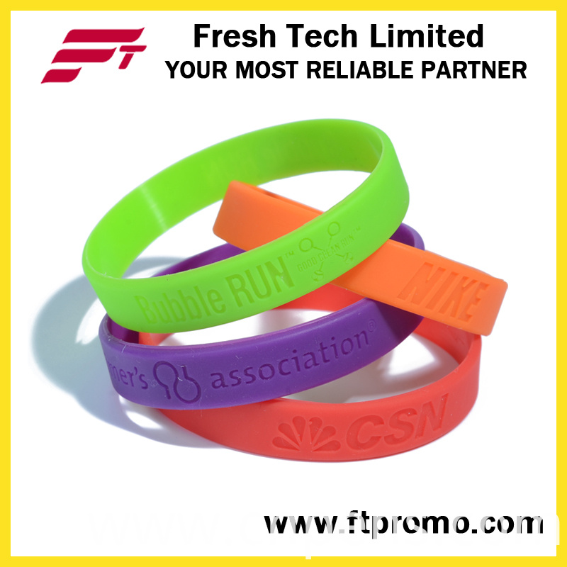 Promotional Embossed Silicone Wristbands with Your Logo