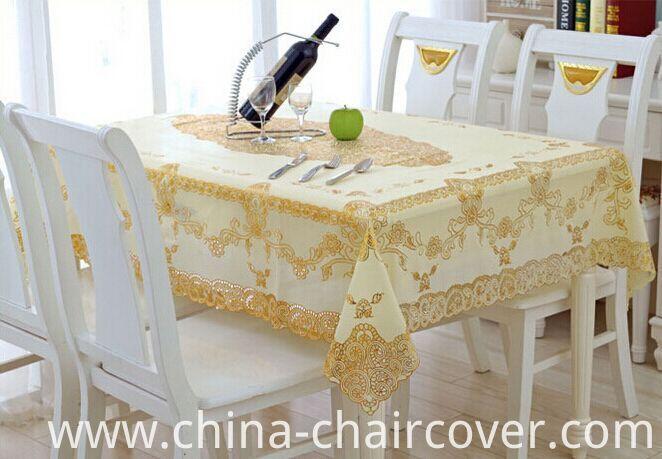 PVC Lace Gold Crochet Tablecloth Round 180cm Wedding/Party Deco. (JFTB-007B)