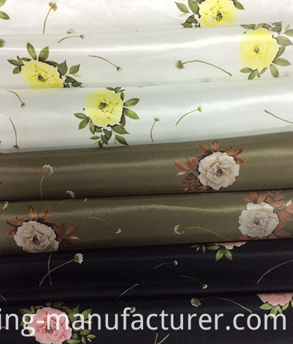 Flower Design Printed Satin Garment Fabric, Home Textiles Fabric