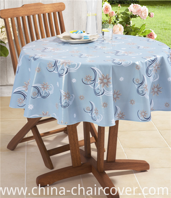 White Round Tablecloth PVC Printed Design Tablecloth with Nonwoven Backing