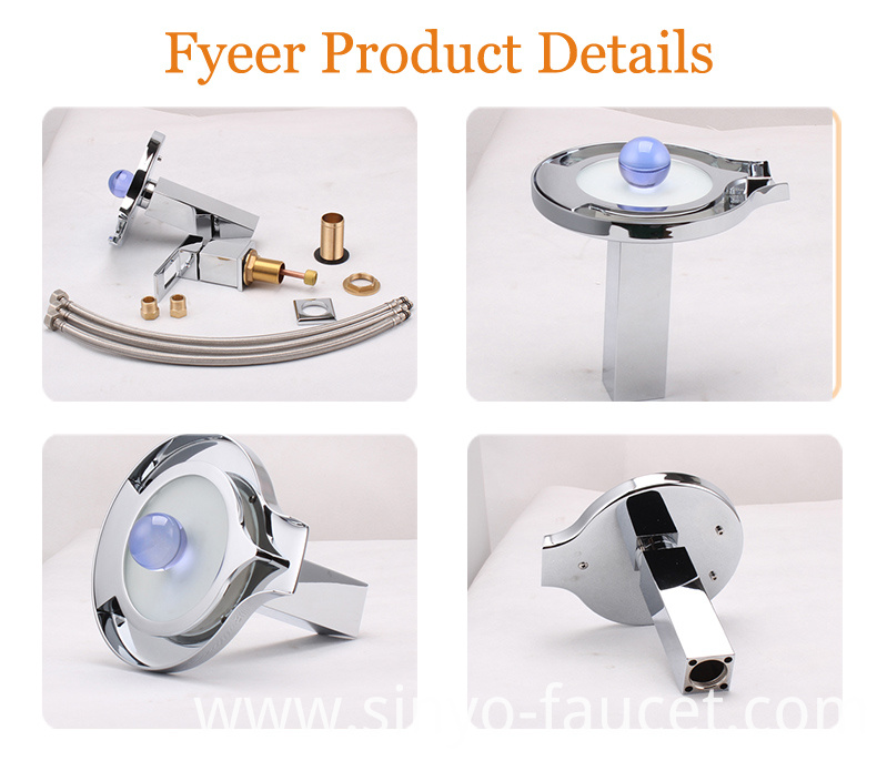 China Fashion Waterfall 3 Color LED Basin Tap Faucet (FD15063F)