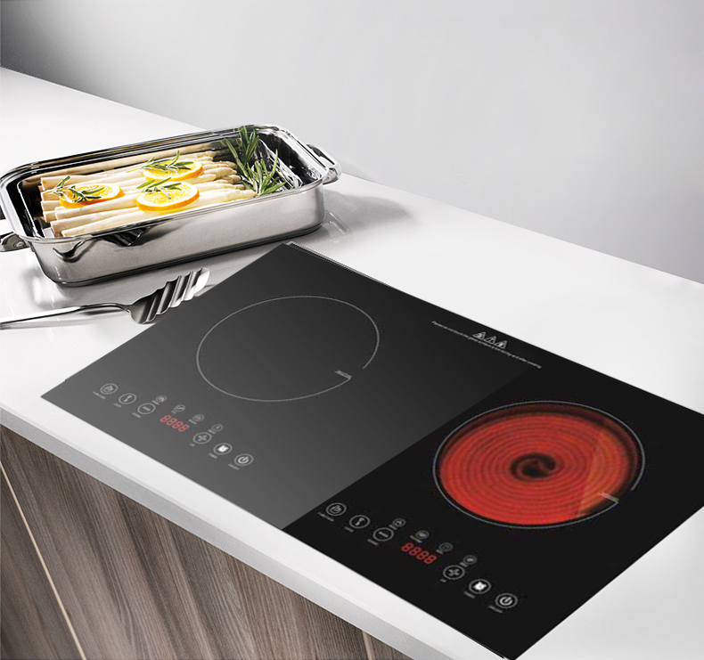 CE CB Approval Built in Double Burners Induction and infrared cooker Model Sm-Dic12