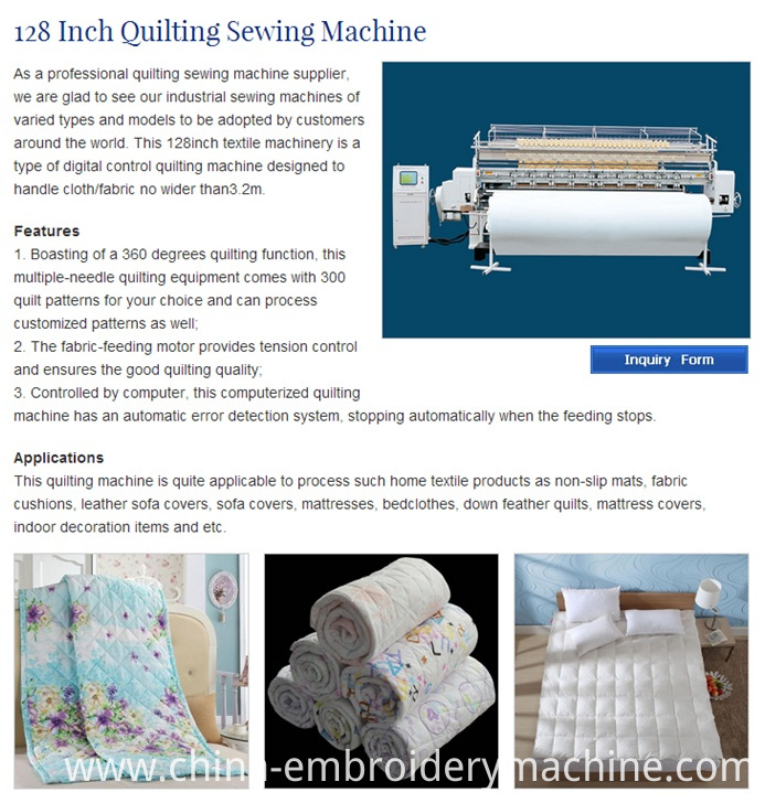 CS128 Computerized Frame Moved Lock Stitch Comforter and Mattresses Quilting Machine