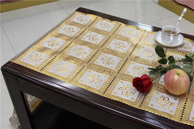 50cm Width Long Lace Gold PVC Vinyl Tablecloth Runner