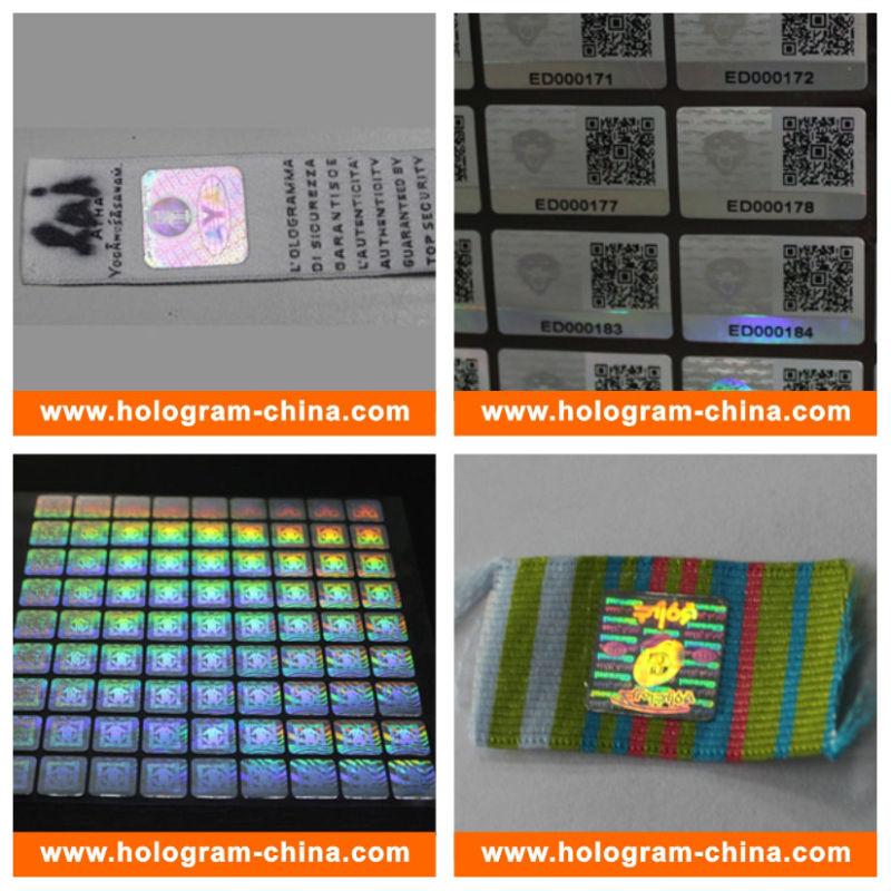 Security 3D Laser Hologram Sticker for Cloth