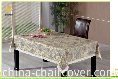 PVC Printed Embossing and Gold Patterns Tablecloth with Flannel Backing