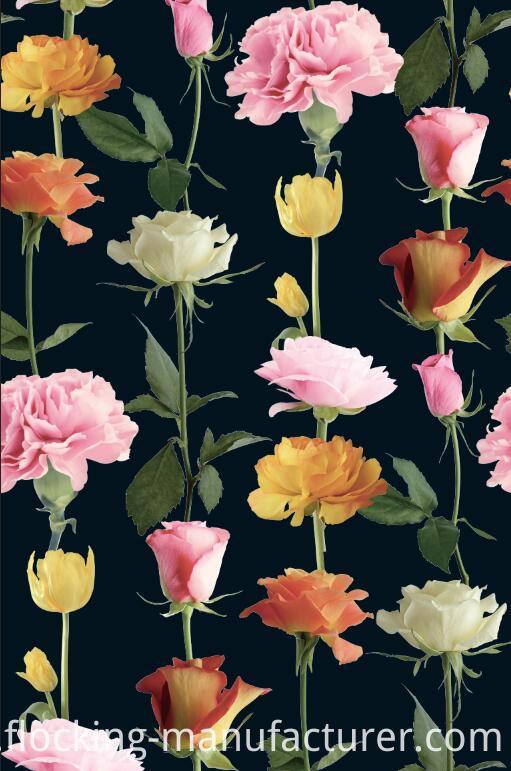 Rose/ Carnation Flower Printed Polyester Garment Fabric