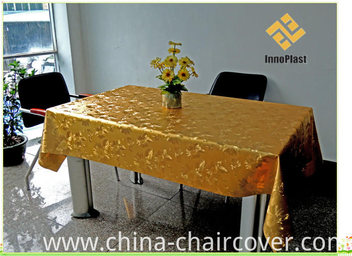 PVC Metallic Embossed Grain Tablecloth with Fabric Backing