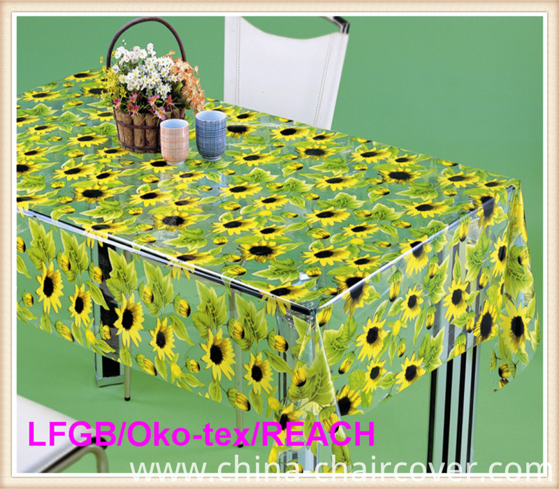 Cheap PVC Printed Transparent Tablecloth Hot Sale