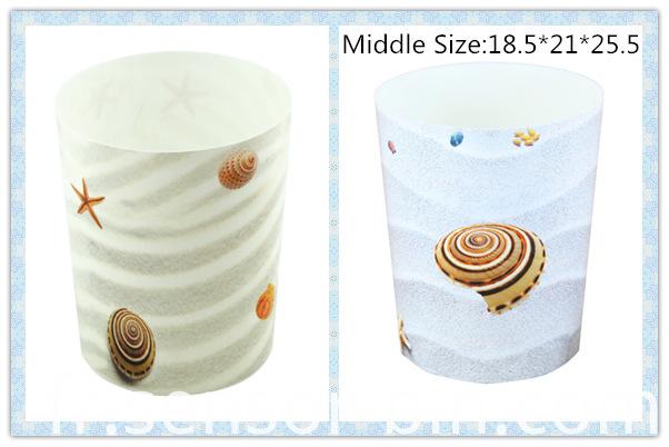 Sea Shells Design Round Plastic Waste Bin (FF-5224)