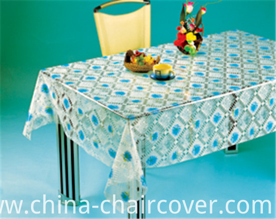 High Quality LFGB PVC Transparent Printed Patterns Tablecloth (TJ 0068)