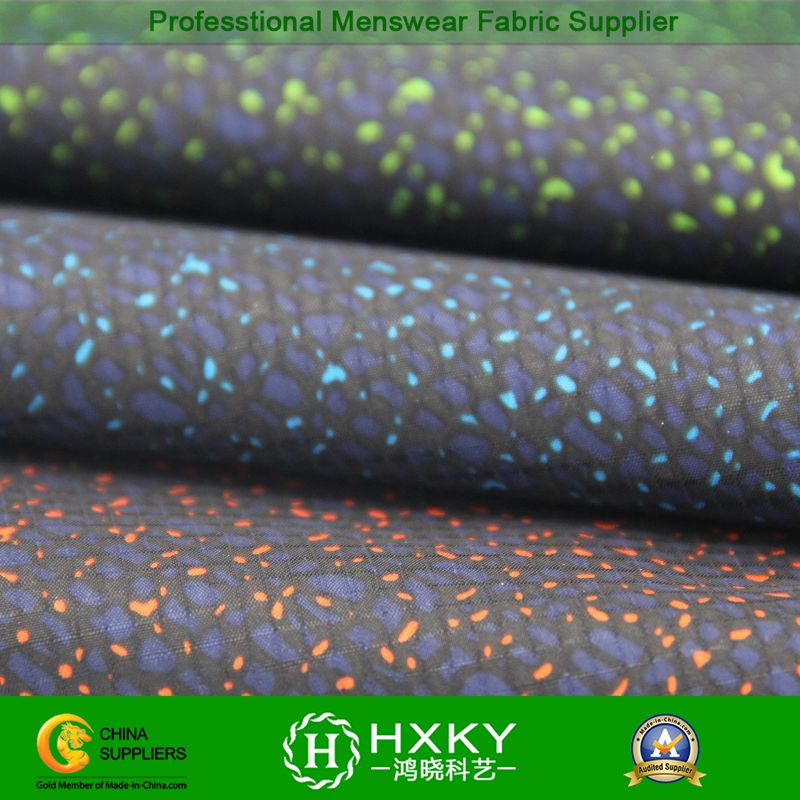 Corroding Hole Processing with Printed Polyester Fabric for Men's Jacket