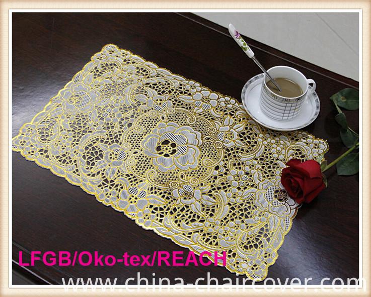 PVC Lace Placemat Coated Gold & Silver/Crochet Doilies
