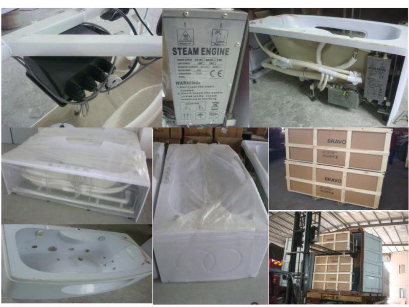 White Acrylic Sanitary Whirlpool Massage Bathtub (OL-665)