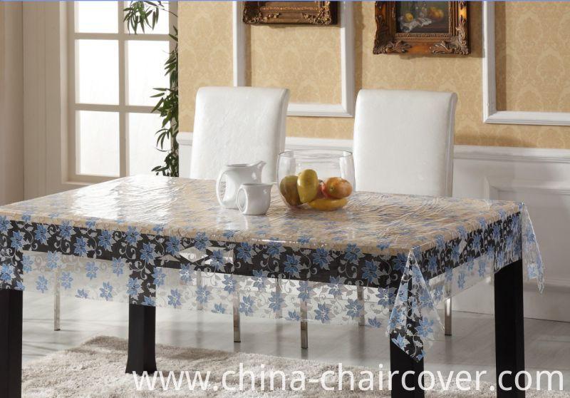 PVC Printed Pattern Vinyl Tablecloth Plastic Transparent