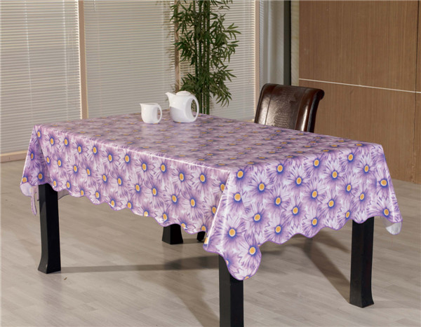 Popular Design Square Shape PVC Plastic Tablecloth with Backside