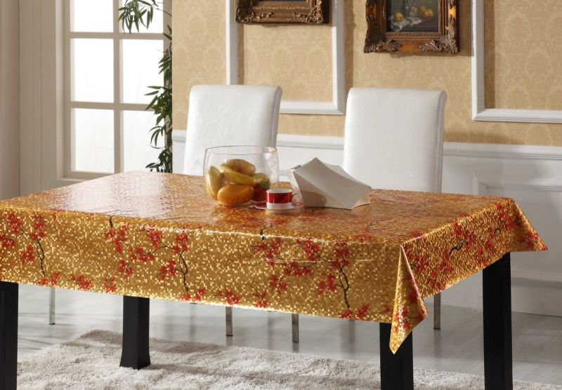 Square Shape Embossed PVC Printed Tablecloth for Home/Party/Hotel