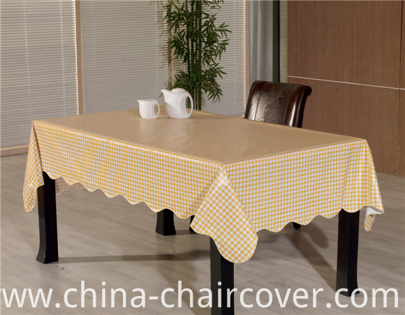 Square Shape Flannel Backing Table Cloth PVC Printed Pattern Oilproof, Waterproof Feature