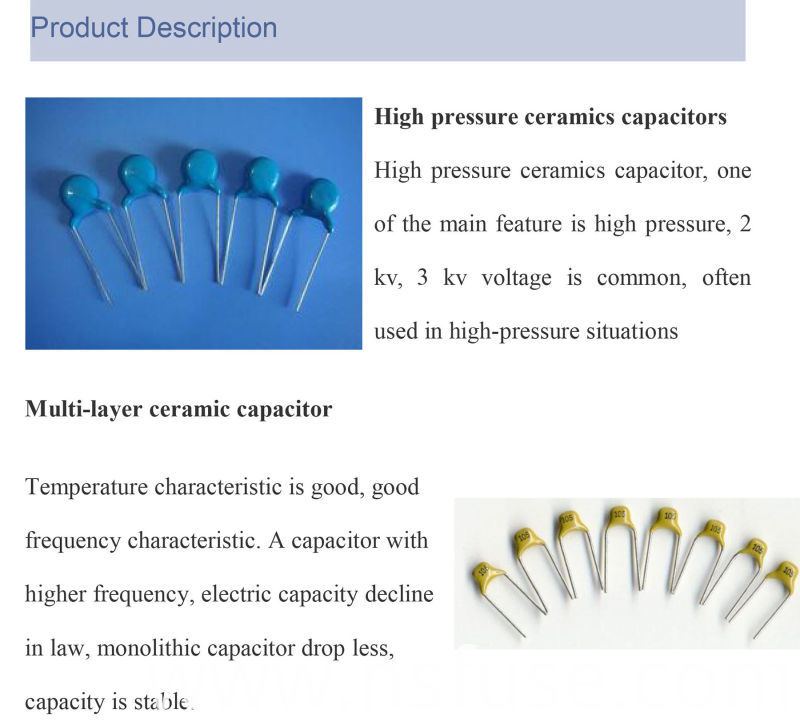2016 Top Sell High/Low Voltage Ceramic Capacitor