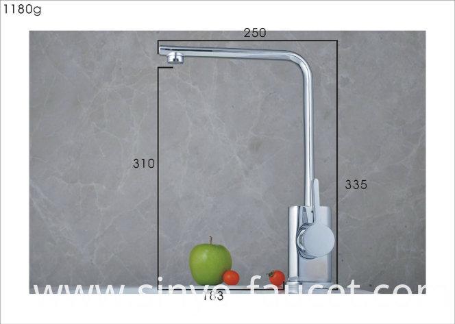 Single Handle Kitchen Water Mixer Brass Sink Tap Faucet (QH0718-1)
