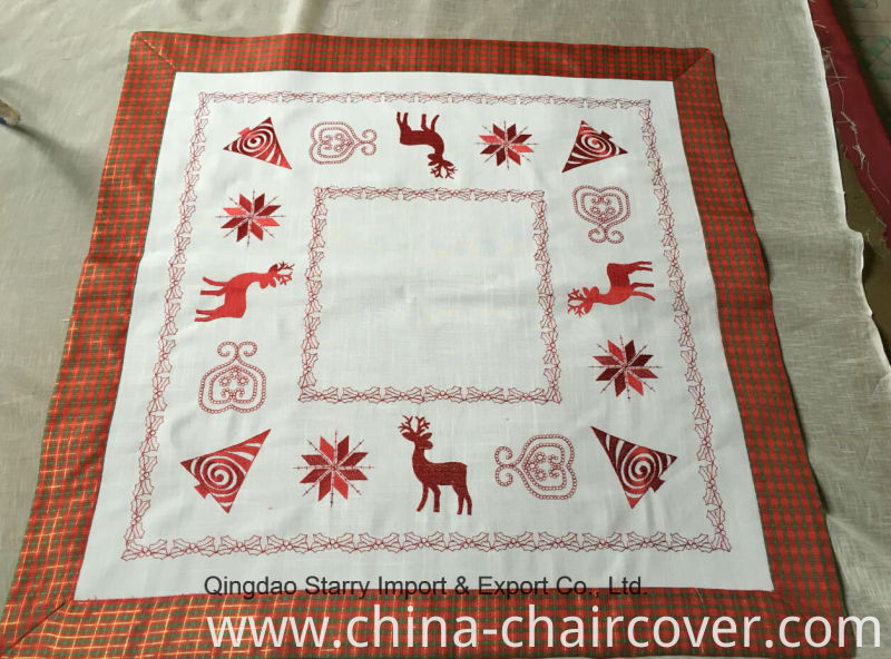 Polyester Fabric Christmas Embroidery Tablecloth 2016