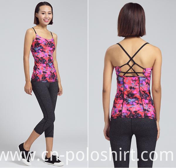 Lady Clothing Custom Digital Printing Stringer Yoga Tank Top