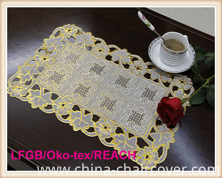 PVC Lace Table Mat/Placemat with Gold and Silver