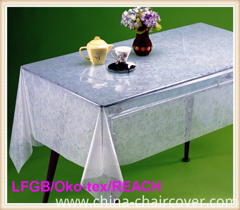 Cheap PVC Print and Emboss Transparent Tablecloth on Roll China Factory