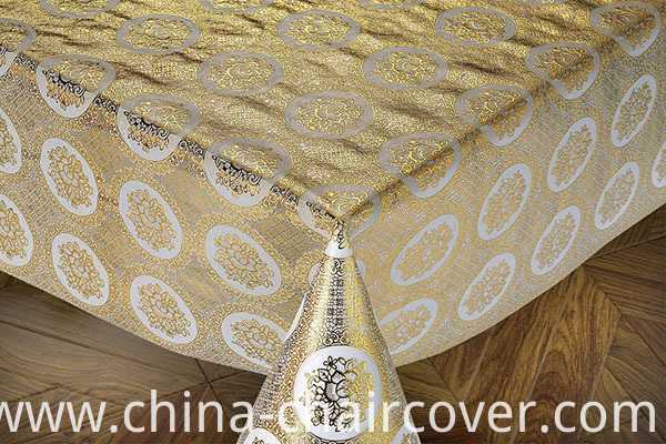 Lace PVC Golden Tablecloth Overlay for Wedding Table on Roll Hot Sale