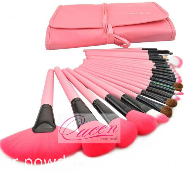 24PCS Pink Natural Hair Professional Makeup Brush Kits