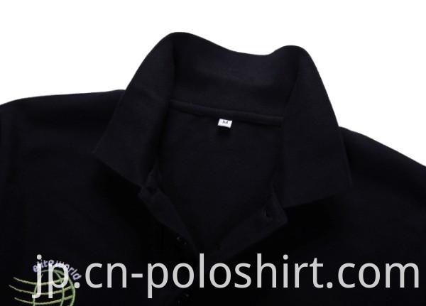 Stand Collar Plain Black Men's Polo Shirts