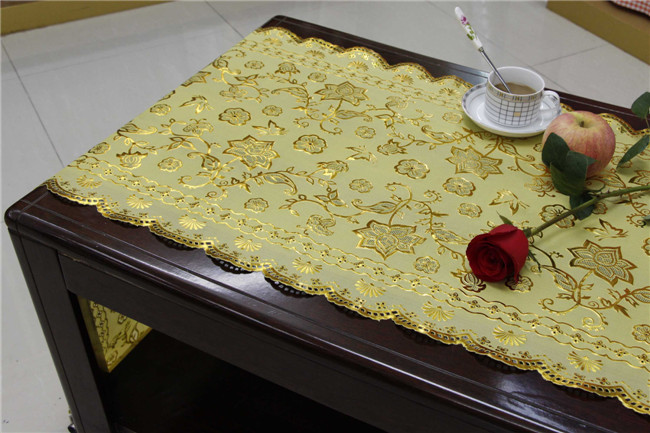 50cm Width Vinyl PVC Gold Lace Table Placemat in Roll