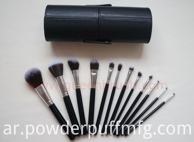 Black Brand Makeup Brushes 12PCS Synthetic Hair Cosmetic Brush Set