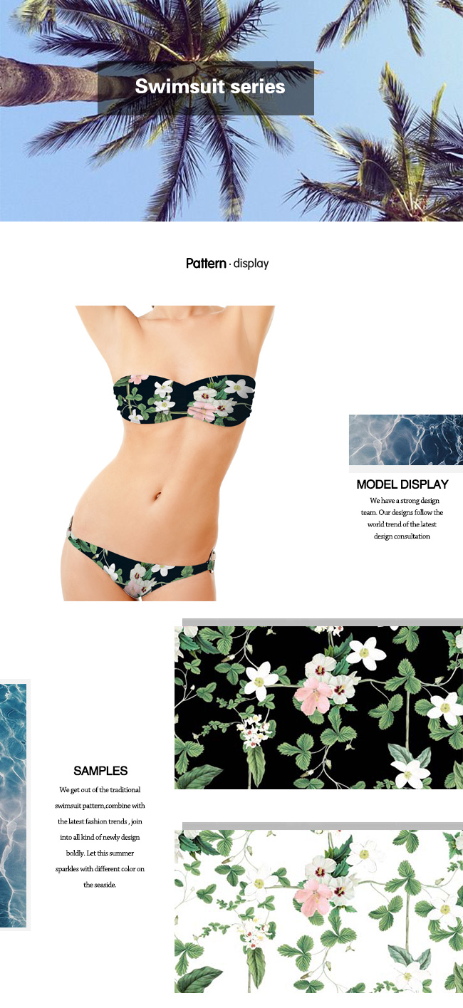 Polyester Spandex Flower Printed Fabric for Swimwear and Jersey Dress