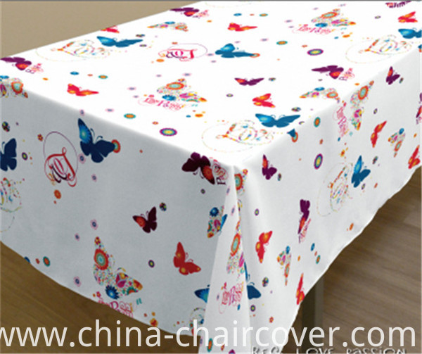 New Design Spunlace Backing PVC Printed Tablecloth Factory (TJ3D0004)