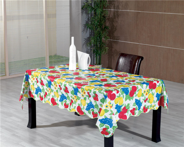 Nonwoven/Flannel/Fabric Backing PVC Printed Tablecloth LFGB Oko-Tex Wholesale China Factory