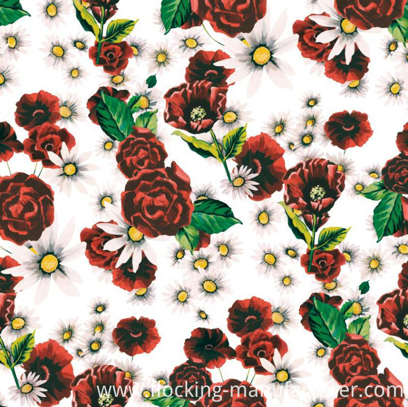 Digital Flower Printed Woven Polyester Garment Fabric