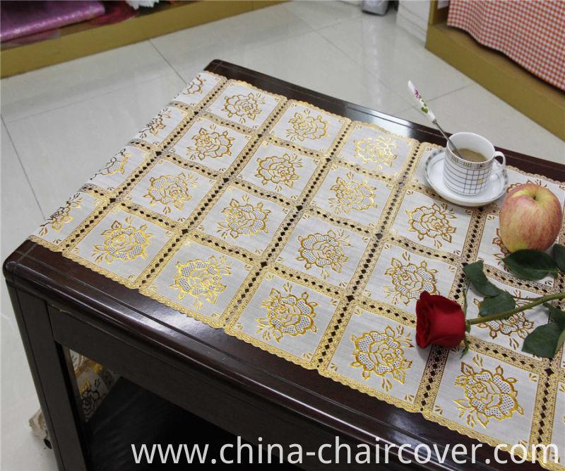 Crochet PVC Roll Gold Long Lace 50cm Width Table Mat