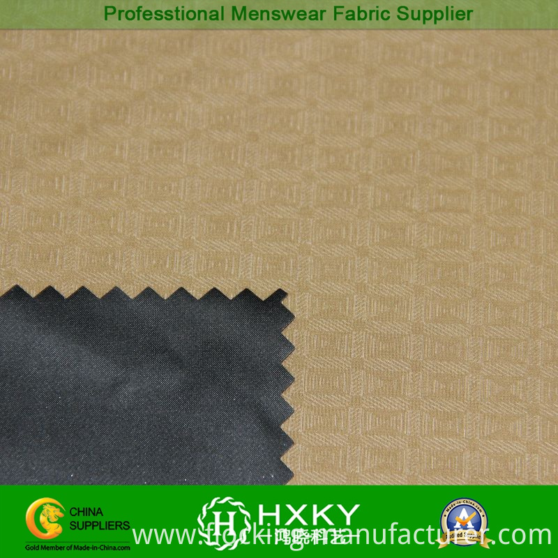 Plaid Design Poly Taffeta Embossed Fabric for Men's Outerwear