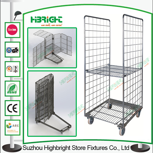 Warehouse Roll Storarge Cage Container Trolley Cart