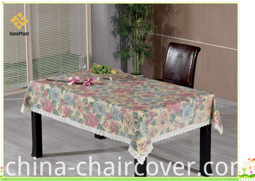 PVC Printed Embossing and Gold Patterns Tablecloth with Nonwoven Backing